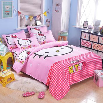 UNIKEA Cartoon Bedding Set for Child Girls Printed Duvet Cover Flat Sheet with Pillowcases Stars kt007
