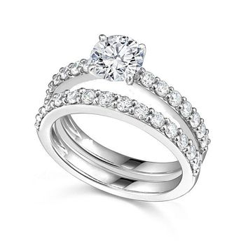 .925 Sterling Silver Wedding Set CZ Bridal Solitaire Engagement Ring and Band Ladies Size 5-9