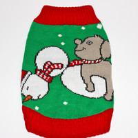 Dog Ugly Christmas Sweater - Dog Humping Snowman