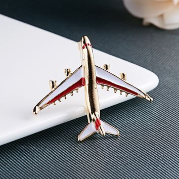 Rinhoo Cute Little Airplane Brooch Blue Enamel Gold-color Metal Brooches Pin Fighter Aircraft Model Jewelry Suit Clothes Clips