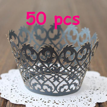 classic crown cupcake wraps royal crown cupcake collars liner Stencil fence wrapper Cupcake black Wrapper handmade cake wedding party