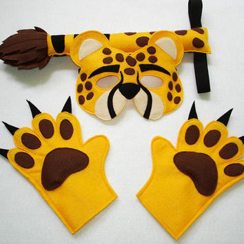 Children's Safari Animal CHEETAH Felt Costume Set