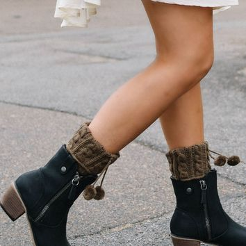 Pikes Peak Light Brown Boot Cuffs with Pom Poms