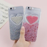For Iphone 6 case Luxury 3D Pink Love Heart Glitter Powder Phone Case for iphone 7 Case Soft TPU Cover Coque For iphone X Case