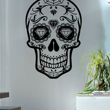 Sugar Skull Version 7 Decal Sticker Wall Vinyl Day of the Dead