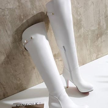 New Women White Round Toe Stiletto Fashion Over-The-Knee Boots