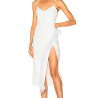 David Koma Side Split Feather Trim Midi Dress in White | FWRD