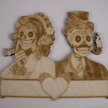 Sugar Skull Couple, Dia de los Muertos, Calavera, Day of the Dead, Gothic, Sugar Skull Wedding, Laser Cut, Unfinished Wood Ready to Paint