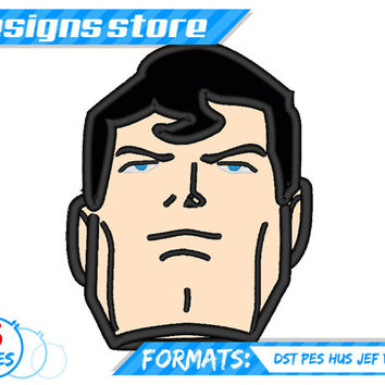 SUPERMAN Face APPLIQUE EMBROIDERY  machine Design pattern Designs SuperHero clipart