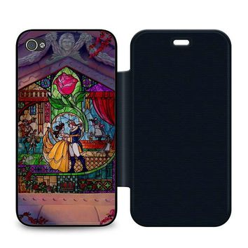 Beauty and The Beast Art Leather Wallet Flip Case iPhone 4 | 4S