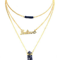 Believe Gold 3 Chain Gold Necklace