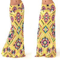 Yellow Geometric Print Maxi Skirt