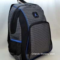 "Nike Air Jordan 15"" Laptop Backpack Black Blue School Book Bag Men Women Boys"