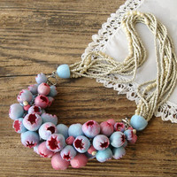 Statement necklace Bib Necklace Beadwork Pink Blue flower buds