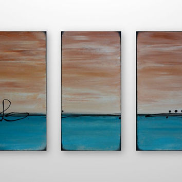 Sky on Fire: Large Abstract Seascape Sunset Triptych Painting- Original Canvas Acrylic Modern Rustic Art - Turquoise, Burnt Sienna - 24 x 36