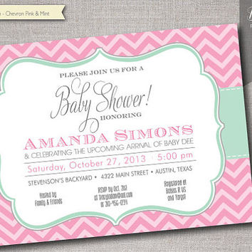 Chevron Pink & Mint Baby Shower invitation - DIY Printable - JPEG or PDF file