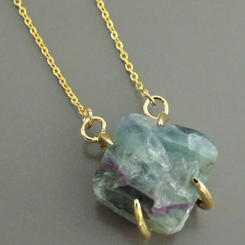 Fluorite Necklace - Raw Fluorite Necklace - Raw Gemstone Necklace - Gold Necklace - Statement Necklace - Boho Necklace - handmade jewelry