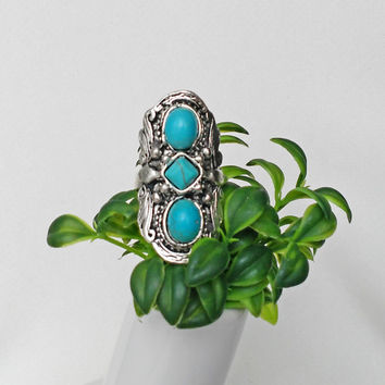 Silver Turquoise Boho Ring, Statement Turquoise Ring, Boho Jewelry, Tribal Ring, Ethnic Jewellery
