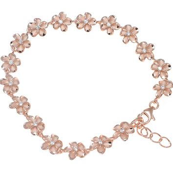 "PINK ROSE GOLD SILVER 925 HAWAIIAN FANCY PLUMERIA FLOWER ANKLET CZ 8MM 10""+"