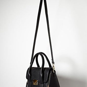 Double-Zip Faux Leather Satchel