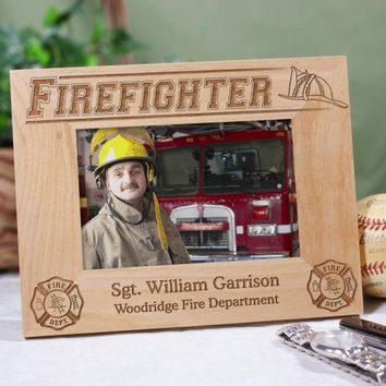 Engraved Firefighter Wood Picture Frame