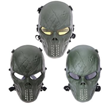 Shock Resistant PC Lens Skull Paintball Games CS Field Face Protection Mask Hunting Military Tactical Cycling Full Face Mask
