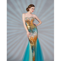 2013 Prom Dresses - Multicolor Strapless Sequin Mermaid Prom Dress - Unique Vintage - Prom dresses, retro dresses, retro swimsuits.