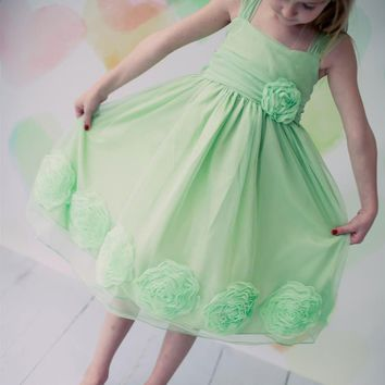 Mesh Flower Girl Dress with 3D Mesh Flowers