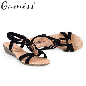 Gamiss Summer Vintage Women Sandals Gladiator Wedge Woman Shoes Beach Flip Flops Bohemian Platform Lace Up Women Beach Shoes