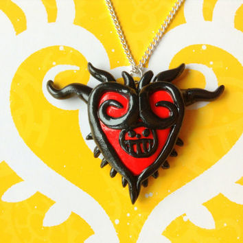 One Piece Anime Necklace, Trafalgar Law Heart Pendant, Anime Polymer Clay Necklace, Heart Pirates, Anime Clay Jewelry, One Piece Cosplay