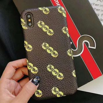 Supreme x LV joint name wild men and women models iPhonex mobile phone shell hard shell #1