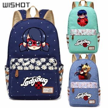WISHOT Anime Miraculous Ladybug Canvas bag Flower wave point backpack for teenagers Girls women School travel Shoulder Bag