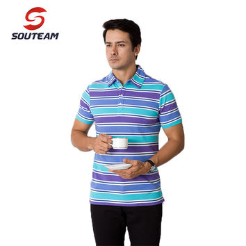 summer new striped short sleeves For Men Cotton collar Multi-color sports  Men's T - shirt