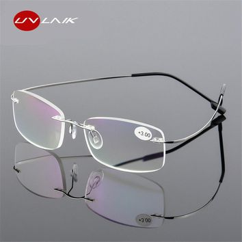 UVLAIK Rimless Presbyopic Reading Glasses Ultra light Flexible Women Men Frameless Diopter Reader Glasses +1 +1.5 +2 +2.5 +3