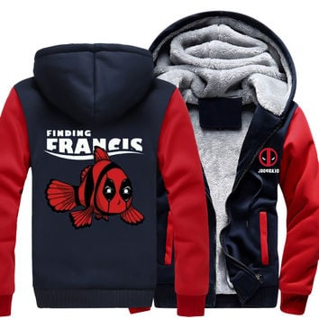 Deadpool Fish Zipper Jacket Sweatshirts Thicken Hoodie Coat Clothing Casual