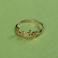 Stack Ring - Name Ring - Handwriting Style - Personalized Presents - 18K Gold Plated