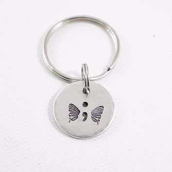 Hand Stamped Semi Colon Butterfly Keychain