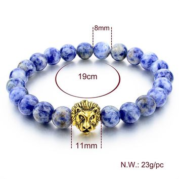 Natural Stone Gold Color Lion Strand Men Bracelet Femme Handmade Beads Bracelets Ethnic Men Jewelry Gifts