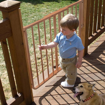 """Cardinal Gates Stairway Special Outdoor Wall Mounted Pet Gate Brown 27"""" - 42.5"""" x 1.5"""" x 29.5"""""""