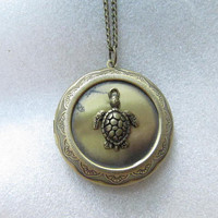 ON SALE--Longevity turtle locket necklace jewelry Gift-Vintage Style