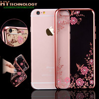 Transparent Bling Diamond Crystal Flower Plating TPU Soft Case For Apple iPhone 6s 6 7 plus 5s SE 5 Rubber Phone Covers Cases