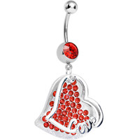 Red Gem Paved Love Heart Dangle Belly Ring | Body Candy Body Jewelry