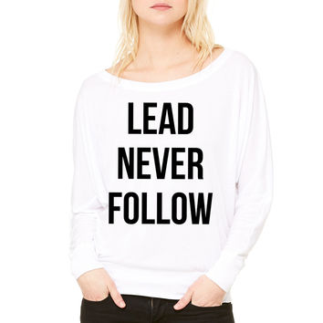 lead never follow WOMEN'S FLOWY LONG SLEEVE OFF SHOULDER TEE