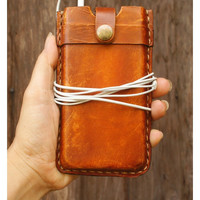 NEW iPhone 5 Leather Case Hand Stitched Leather Sleeve - Rustic Vintage stlye - Unisex / Men Gift