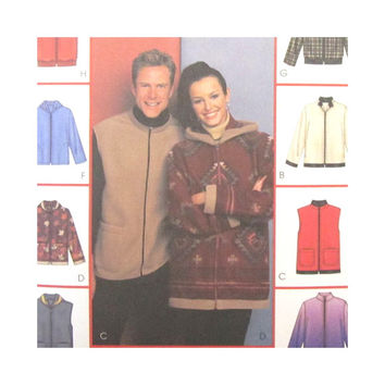 McCalls 3784  Uncut Sewing Pattern Misses Mens Outdoor  Jackets and Vests  Hood Variations Stretch Knits Size S M L or XL XXL