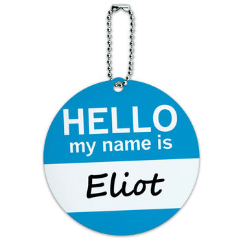 Eliot Hello My Name Is Round ID Card Luggage Tag