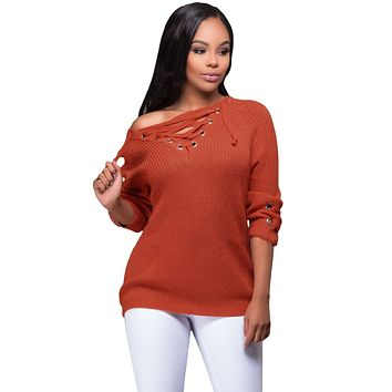 Orange Crisscross Knitted Long Sweater