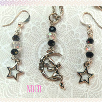 Fairy, Moon & Stars Necklace and Earrings Set, Crystals