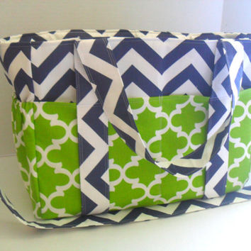 Extra Large Diaper bag Lime Green Quatrefoil - Diaper Bag - Tote Bag - Messenger Bag - 12 Pockets - Zipper Closure- Navy Blue Chevron