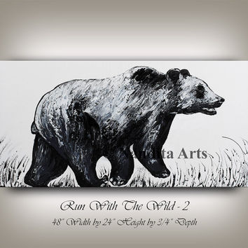 Bear Artwork, Bear Painting Wall Art Original Charging Black Bear Art Home Decor Textured Large Wild Animal Paintings wildlife Chicago bear.